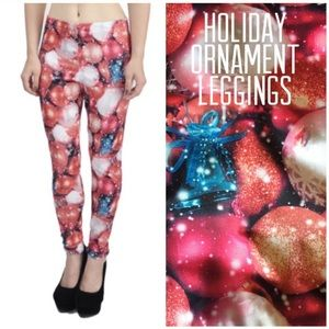 Modern Lux Holiday Ornament Leggings Large Tights